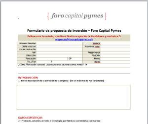 formulario foro capital pyme